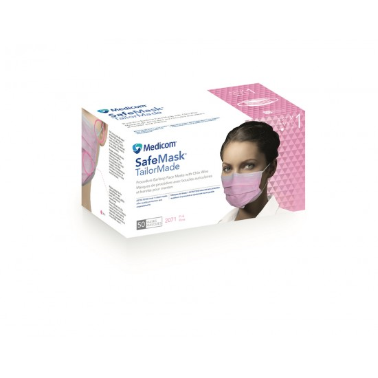 Safe+Mask TailorMd Mask LB Pink Level 1 50/Bx Medicom