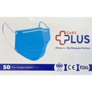 CARE PLUS Premium 4-Ply Face Masks 50Pcs/Box Blue